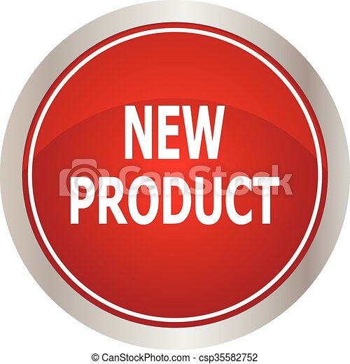 Red round new product button - csp35582752