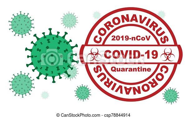 Red round stamp. Coronavirus covid -19 , 2019-nCoV quarantine with virus cells on the background - csp78844914