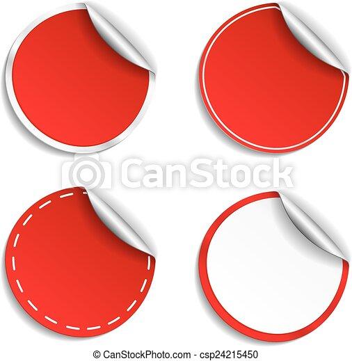 Red Round Stickers - csp24215450
