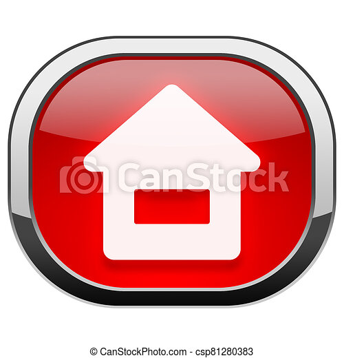 Red rounded square button - Home - csp81280383