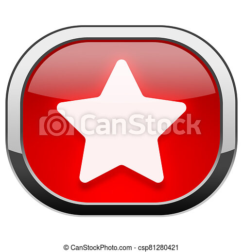 Red rounded square button - Star - csp81280421