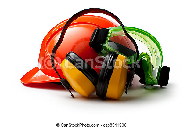 Red safety helmet with earphones and goggles - csp8541306