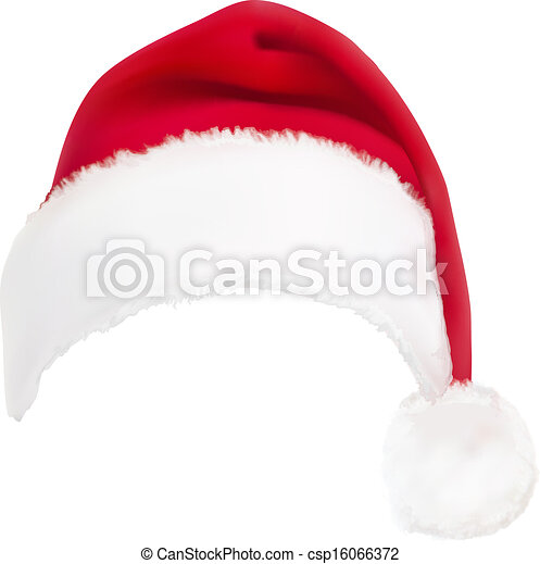 red santa hat. Vector.  - csp16066372