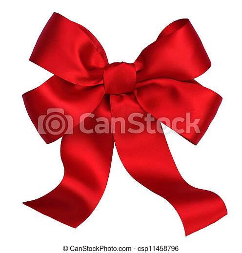 Red satin gift bow. Ribbon. Isolated on white - csp11458796