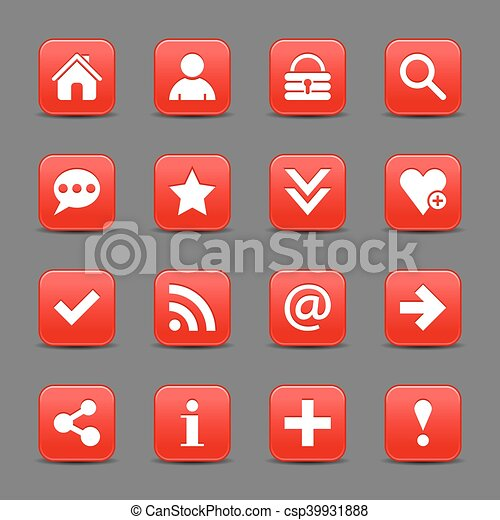 Red satin icon web button with white basic sign - csp39931888