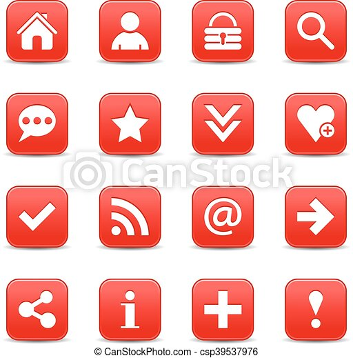 Red satin icon web button with white basic sign - csp39537976