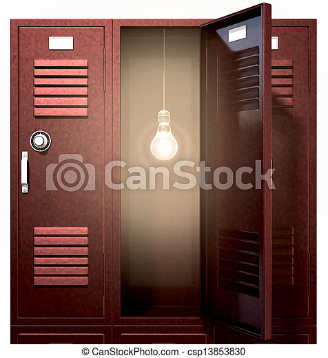 Red School Lockers With Light Bulb Inside Front A Stack Of Red Metal School Lockers With One With An Open Door With An