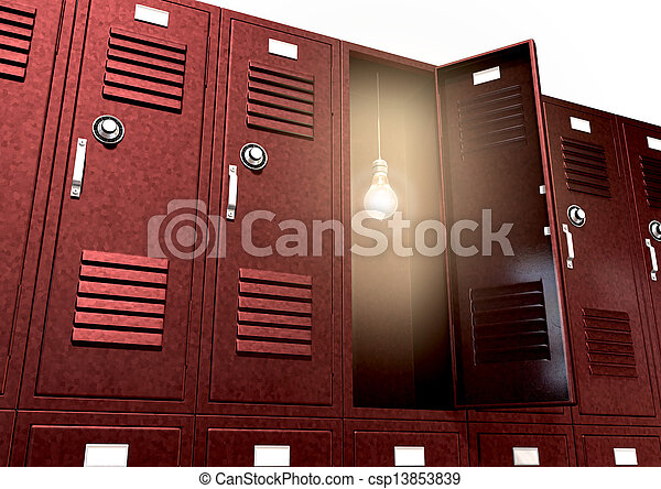 Red School Lockers With Light Bulb Inside Perspective A Stack Of Red Metal School Lockers With One With An Open Door With An