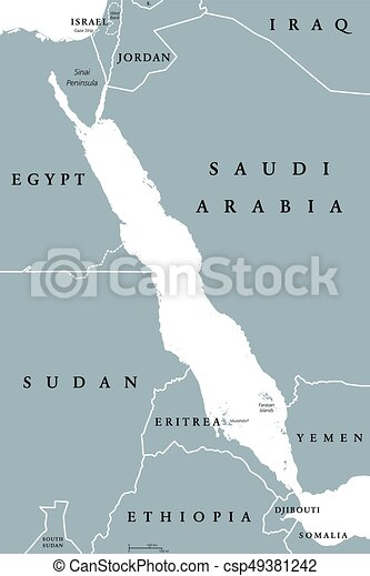 red sea political map english labeling also called the erythraean sea seawater inlet of the indian ocean between horn of africa and arabian peninsula