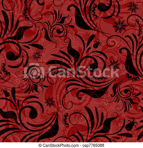 Red seamless floral pattern - csp7765088