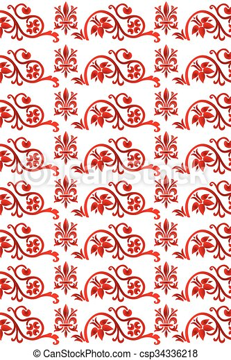 Red seamless floral pattern - csp34336218