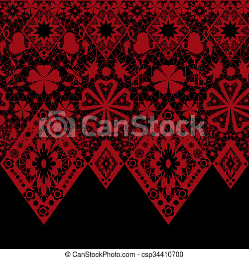 Red seamless lace pattern on black - csp34410700