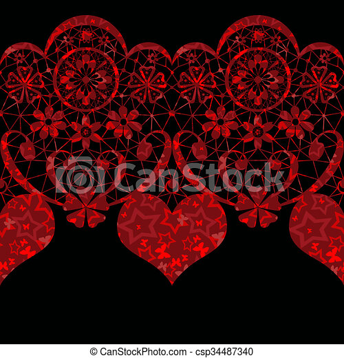 Red seamless lace pattern on black - csp34487340