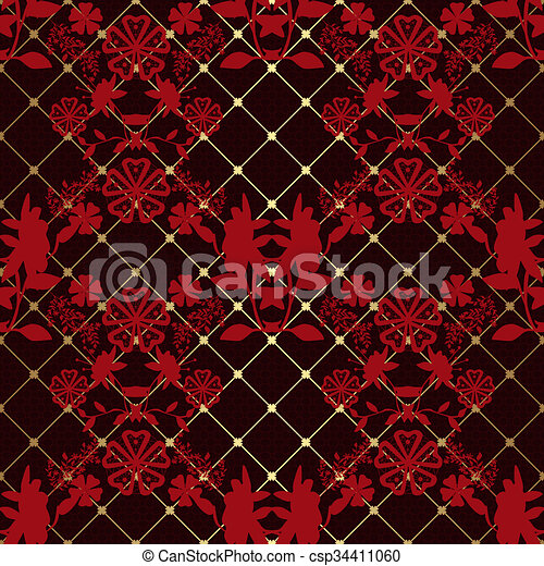 Red seamless lace pattern on black - csp34411060