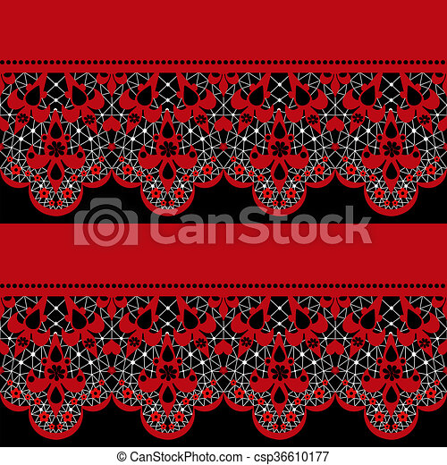 Red seamless lace pattern on black - csp36610177