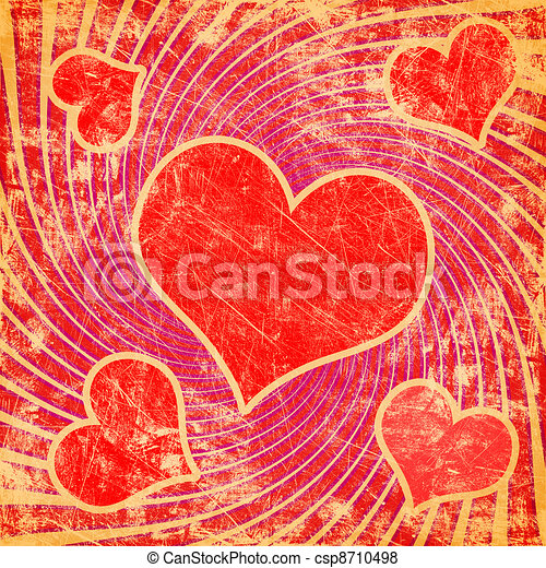 red seamless pattern with grunge heart - csp8710498