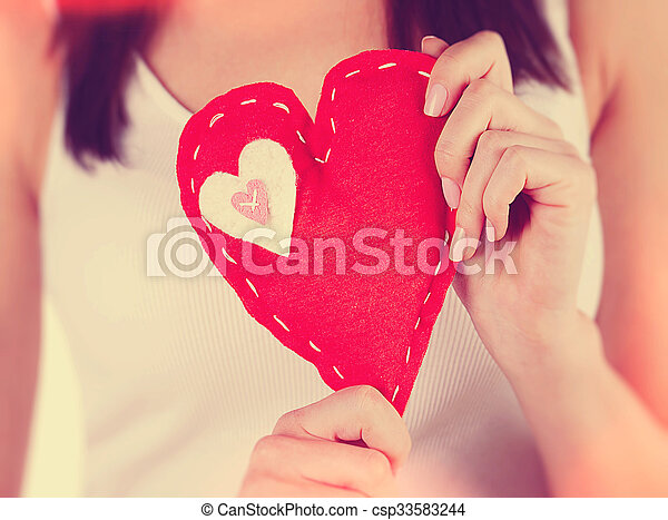 Red sewn heart - csp33583244