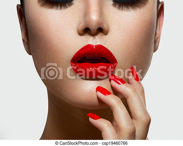 Red Sexy Lips and Nails closeup. Manicure and Makeup - csp19460766