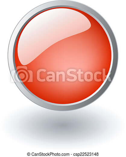red shiny ball, button sign - csp22523148