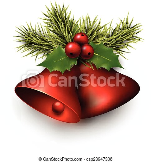 Red shiny christmas bells.  - csp23947308