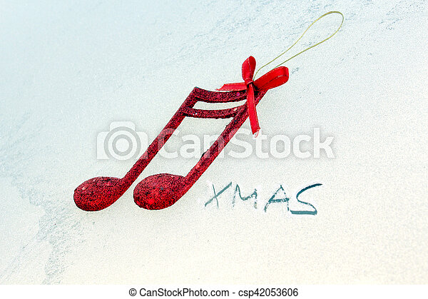 Christmas Music Notes.Red Shiny Decorative Christmas Music Notes