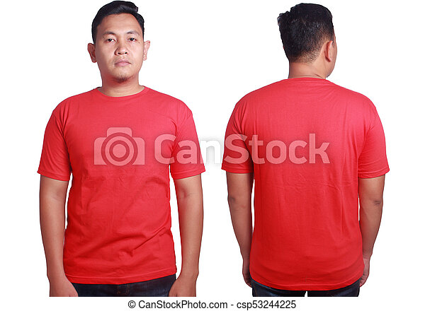 Red Shirt Mockup Template Blank Tshirt Mock Up Front And Back