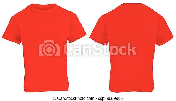 100726cd0 Red shirt template. Vector illustration of blank red men t-shirt ...
