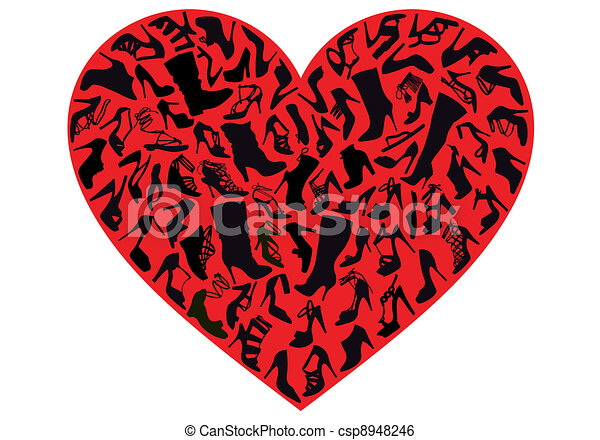 Line Art Of Heart : Red shoe heart vector. various silhouettes in clip art