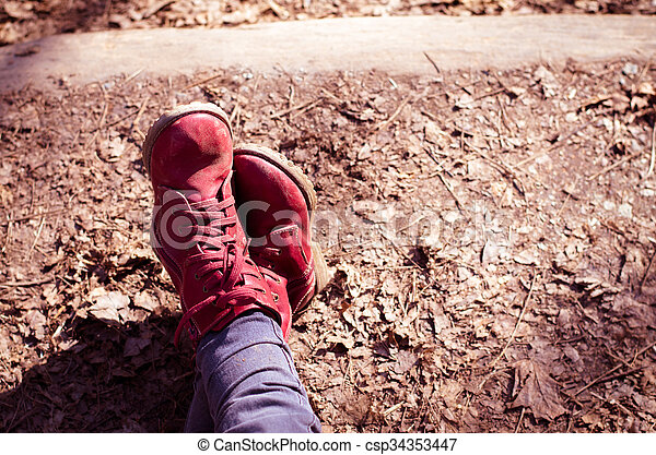 red shoes relaxing - csp34353447