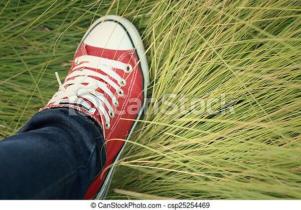 Red shoes with a background of green grass. - csp25254469