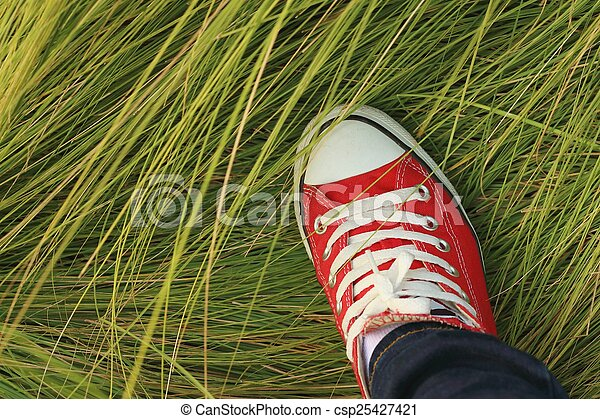 Red shoes with a background of green grass. - csp25427421