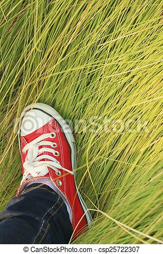 Red shoes with a background of green grass. - csp25722307