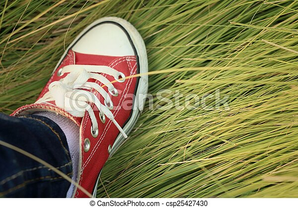 Red shoes with a background of green grass. - csp25427430