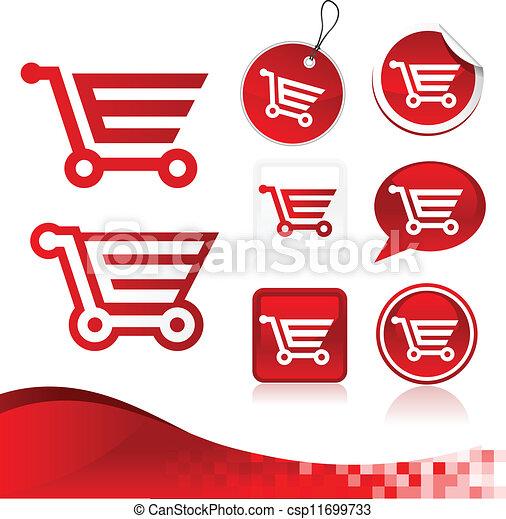 Red Shopping Cart Design Kit - csp11699733