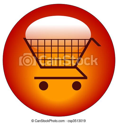 red shopping cart web button - csp3513019