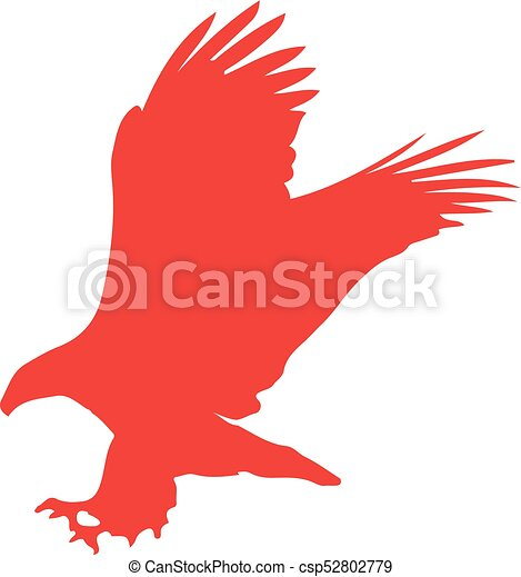 Red Silhouette Of Eagle Isolated On White Background Vector