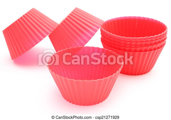 Red silicone cups on white background - csp21271929