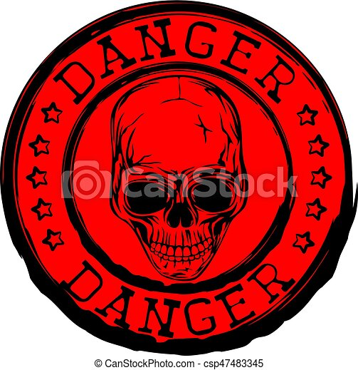Red Skull Stamp Danger