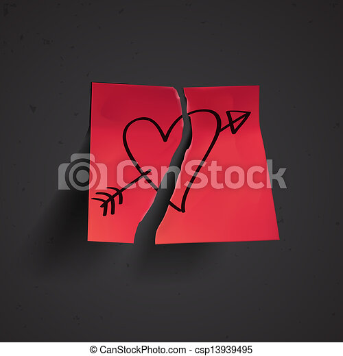Red small sticky note with heart - csp13939495