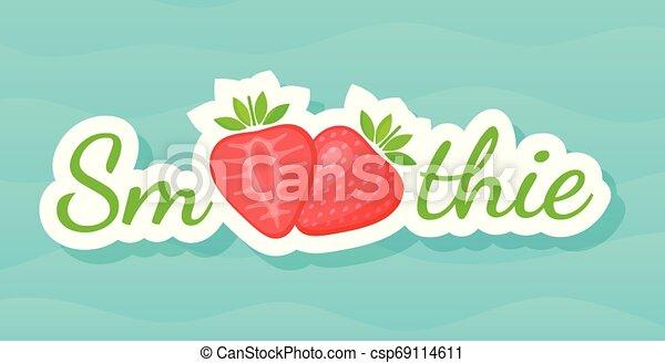Red smoothie strawberry cocktail sticker logo - csp69114611