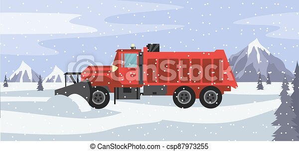 Red snow plow truck cleans snowy road in snowfall a vector illustration - csp87973255