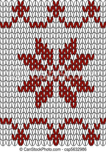 Red Snowflake Knit Pattern