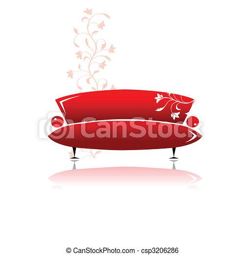 Red sofa design - csp3206286