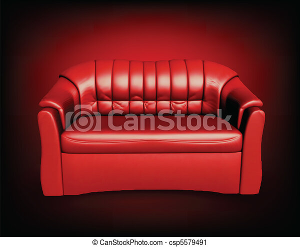 Red Sofa On Black Background   Csp5579491
