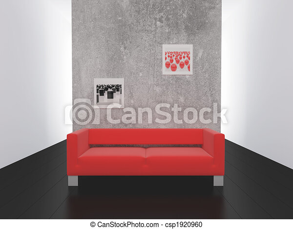 Red sofa on black to a floor