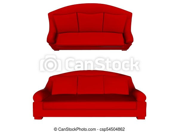 Red Sofa Top And Front View On White Background