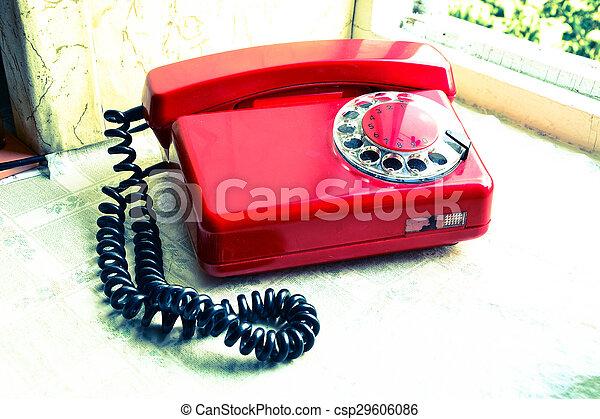 Red soviet retro telephone - csp29606086