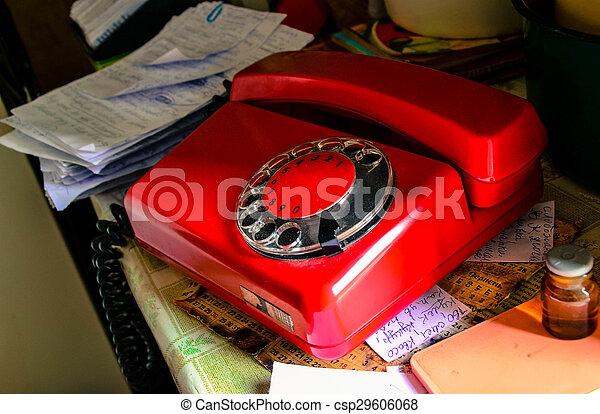 Red soviet retro telephone - csp29606068