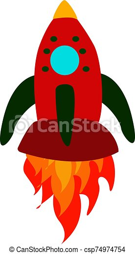 Red spaceship, illustration, vector on white background. - csp74974754