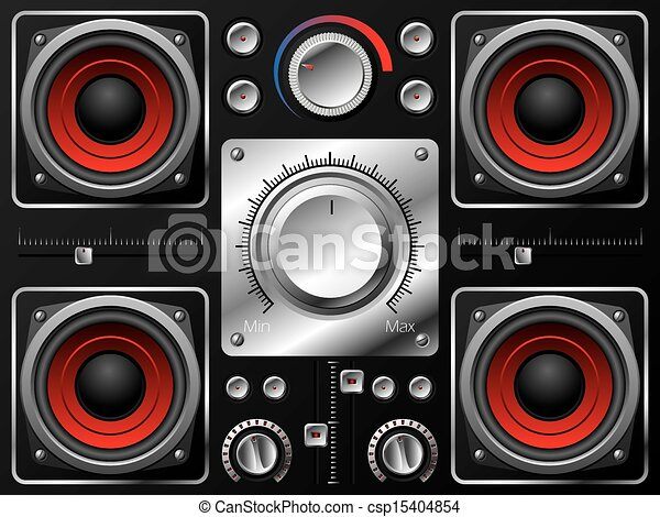 Red Speakers With Amplifier And Knobs